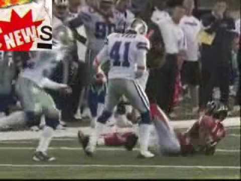 Dallas Cowboys' Terence Newman Hits Atlanta Falcons' Roddy White - 10/25/09.