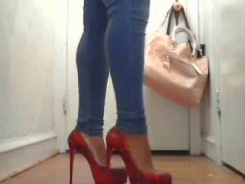 Red 6inch heels, Ebony Femdom Heel Worship Goddess Danielle