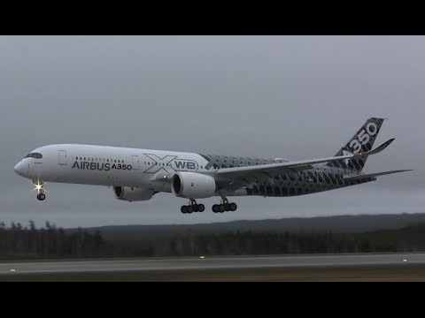 An Airbus A350-941 ( F-WWCF ) lands at Gander International Airport ( CYQX ) after extreme weather testing at Eglin Air Force Base ( KVPS ).