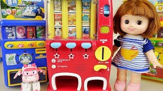 Baby doll and Disney drinks vending machine and Poli machine toys play