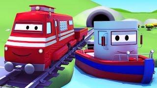 Troy el Tren y el Barco en las aguas de Auto City | Dibujos animados para niños