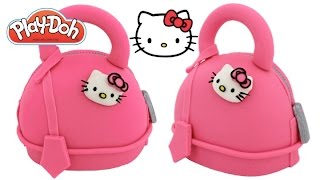 Play Doh How to Make a Hello Kitty Handbag Cake RainbowLearning