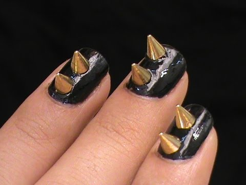 Spiked Studs Nail Art designs! Short Nail Designs Nails how to do stud nail art studded DIY tutorial