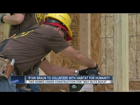 Ryan Braun volunteers with Habitat for Humanity