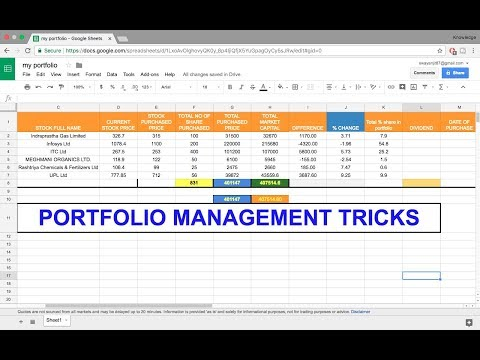 HOW TO MANAGE OWN STOCK PORTFOLIO IN GOOGLE SHEET ? FREE TUTORIALS
