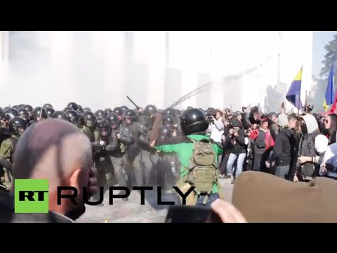 Ukraine: Svoboda protesters WHIP police outside Kiev parliament