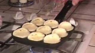 Making Aebleskiver Danish Pancakes with Arne