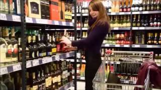 NiNA - supermarket shopping in high heels and wetlook leggings