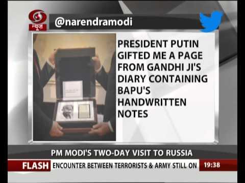 Prez Vladimir Putin gifts PM Modi Mahatma Gandhi's notes