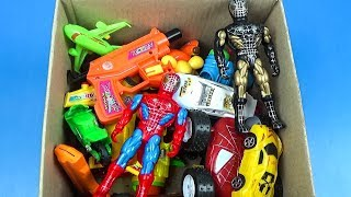 Box of Toys: Marvel Mashers, Cars, SpiderMan Action Figures VIDEO FOR KIDS - What's in the box ?