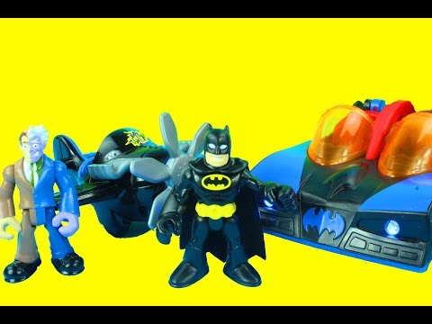 Imaginext DC Super Friends Batman Batmobile with lights & Two-face with plane Just4fun290