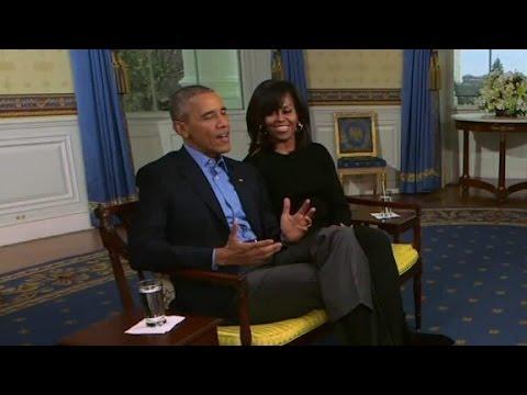 The Obamas talk Super Bowl Sunday