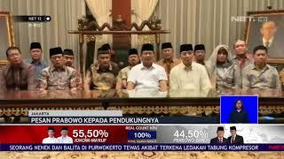 Pesan Prabowo Kepada Pendukungnya Pasca Pengumuman Pemilu NET12