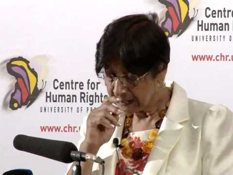 UN High Commissioner for Human Rights Ms Navi Pillay presents the Helen Kanzira Memorial Lecture