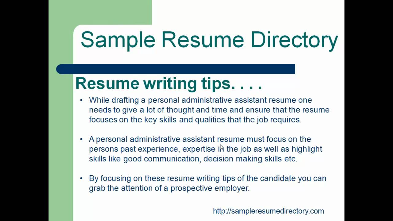 personal administrative assistant sample resumemp4 YouTube