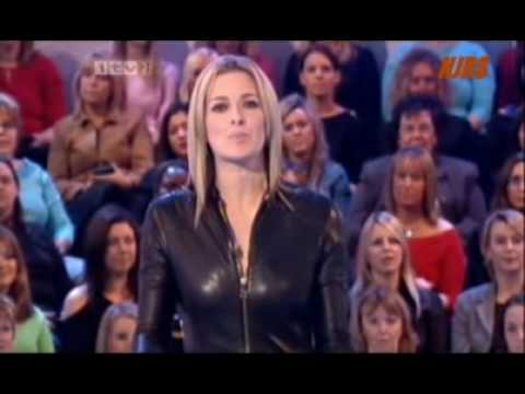 Gabby Logan in a leather Catsuit