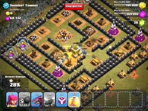 Clash of Clans: High Level Defense TH 9 - Attack with PEKKA, Barbarian