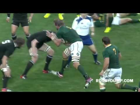 Brodie Retallick tip tackle on Andries Bekker Rd. 6 | Rugby Championship Video Highlights 2012