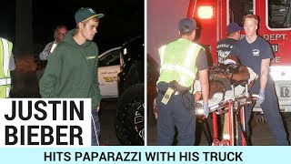 Justin Bieber Hits Paparazzi With His Truck!