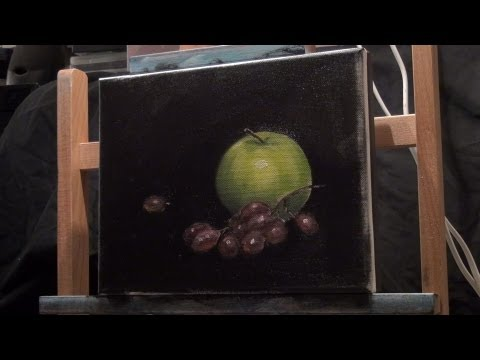 Apple and Grapes Still Life