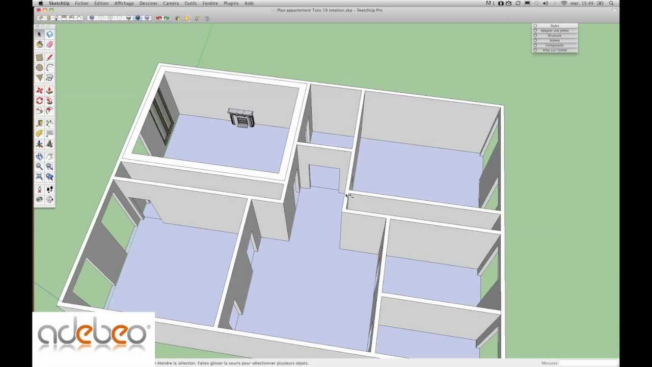 tutoriel sketchup 19 outil rotation youtube