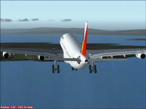 A340 Landing at Mactan Cebu International Airport. FS2004