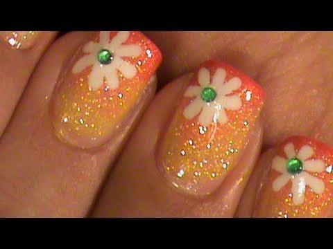 Summer Flower Short Nails Ombre Gradient Nail Art Design