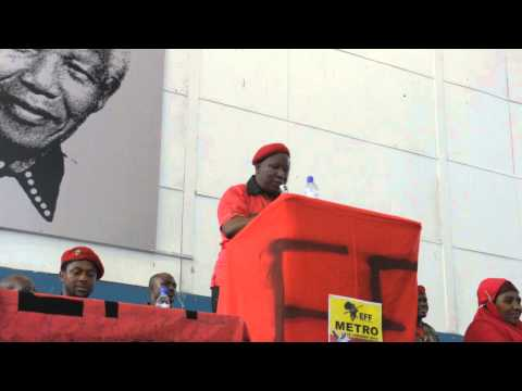 Julius Malema CIC of EFF tells supports to address Pres Jacob Zuma when voting.