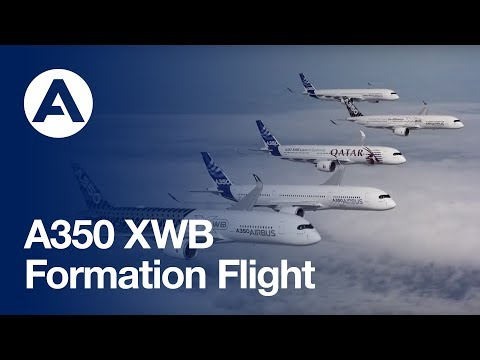 The A350 XWB test fleet joins up in formation flight