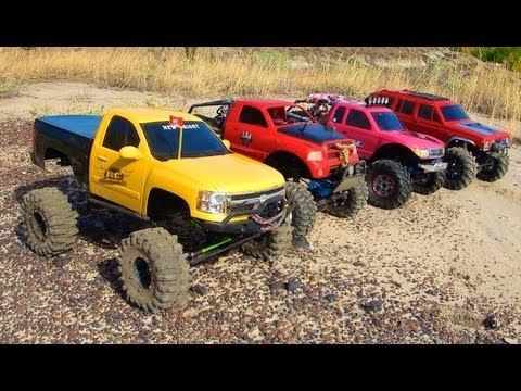 RC ADVENTURES: 4 SCALE RC 4x4 TRUCKS in ACTiON: on MARS? Nope: EARTH! TEAM W3RK!