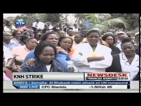 Workers at the KNH strike
