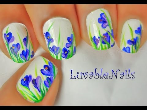 Spring Crocus Flowers nail art by LuvableNails
