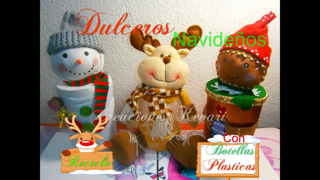 Mu eco de nieve dulcero con botellas pet dulcero navide o for Adornos navidenos hechos con botellas plasticas
