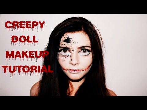 Creepy cracked/ stitched doll makeup tutorial (for amateurs)