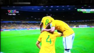 David Luiz Amazing Freekick Goal vs Colombia (Brazil 2-0 Colombia) World Cup 2014