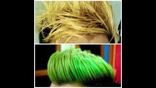 Blonde to Green || Hair colour transformation ll