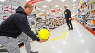 KICKBALL WITH STRANGERS IN STORES! *got away with it*