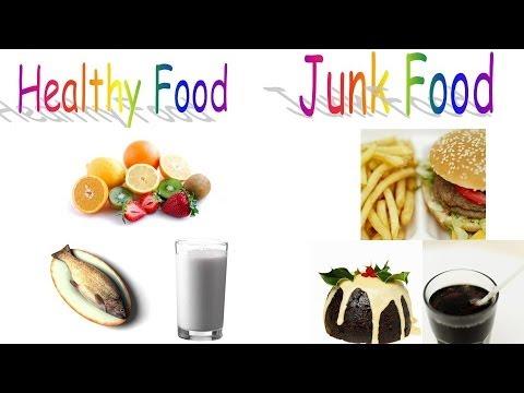 Healthy food and Junk food for preschool children and kindergarten kids