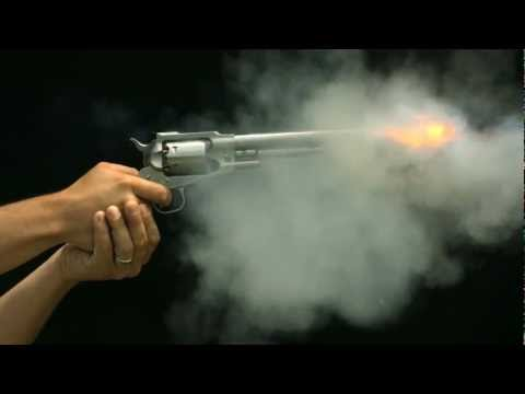 Gun Shooting Slow Motion HD a Revolver Shot in Slow Mo Views of Trigger Hammer Chamber and Barrel