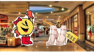 ms pacman goes to the mall to buy new shoes