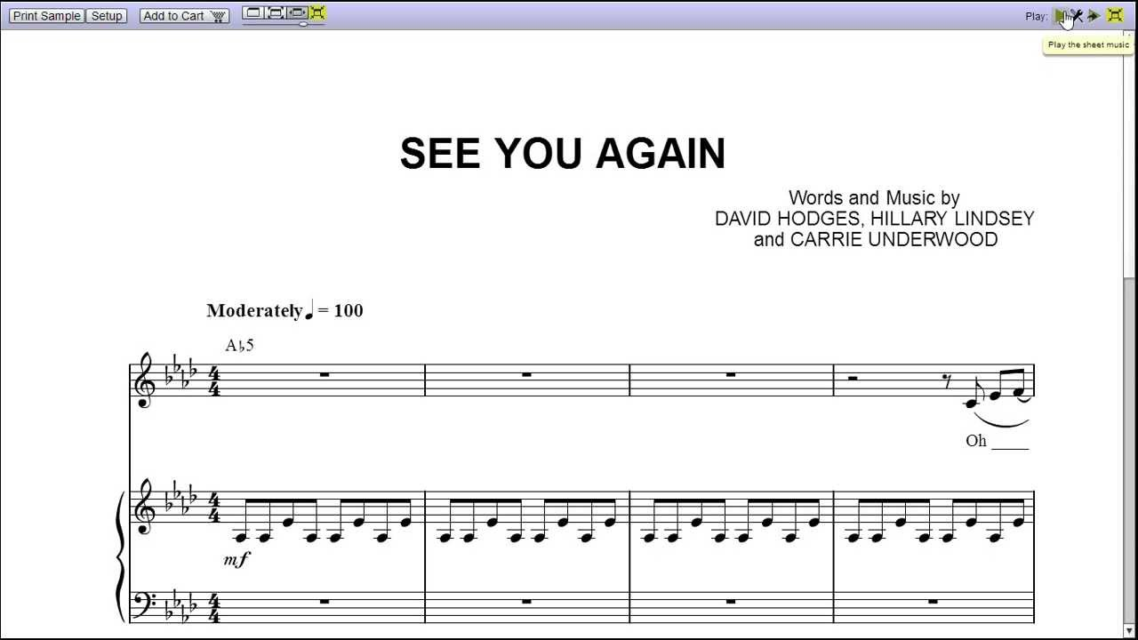 """""""See You Again"""" Carrie Underwood - Piano Sheet Music ..."""