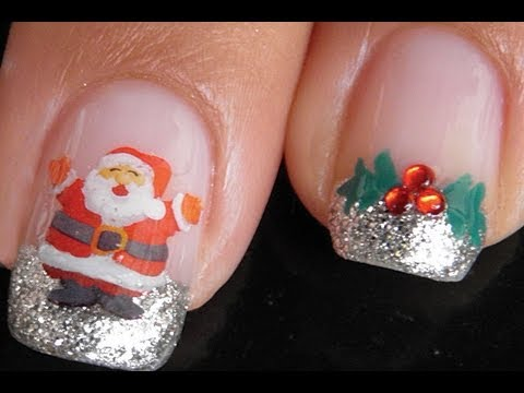 Christmas nail art tutorial: Holly and Santa