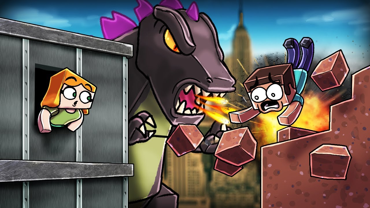 Minecraft | GODZILLA BASE CHALLENGE - Godzilla Destroys City! (Will you Kill it?)