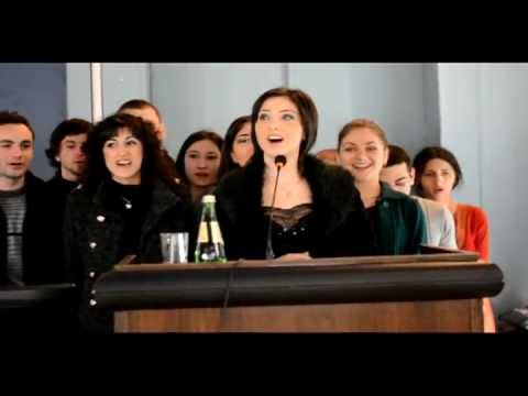 Georgian students sing in lithuanian language