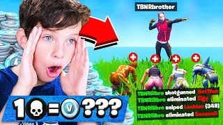 FORTNITE'S *BEST* 12 YEAR OLD! 1 WIN = 5000 *FREE* VBUCKS! (Fortnite with My Little Brother)