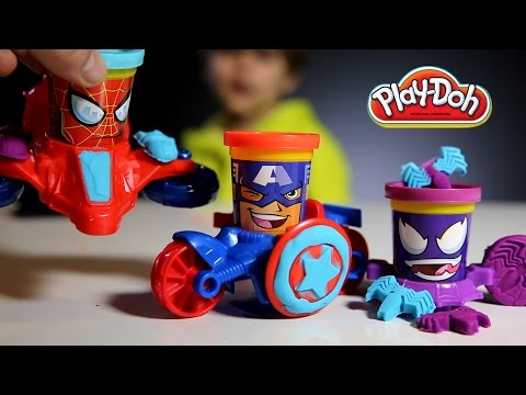 Fun With: Play-doh Marvel Super Heroes - Can Heads: Captain America, Spider Man, Venom video