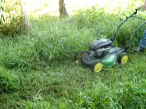 John deere push mower cutting tall grass youtube for Lawn mower cutting grass