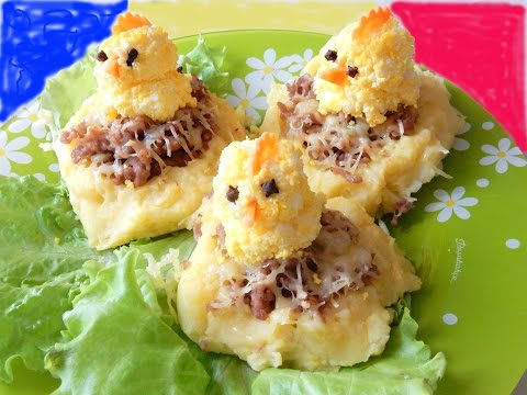 Новогодние рецепты Петух  Картофельные гнёзда картофель запечённый в духовке с фаршем