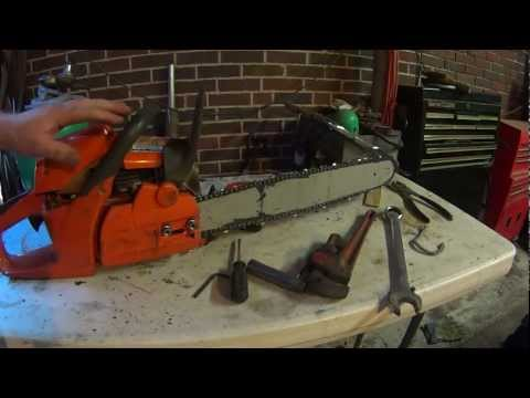 Husqvarna chainsaw removing clutch oiler repair and sharpening chain