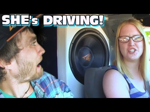 EXO's Girlfriend BASS DEMO!!  Watch Her 1st Time Driving a 150db Car Audio Subwoofer Sound System!